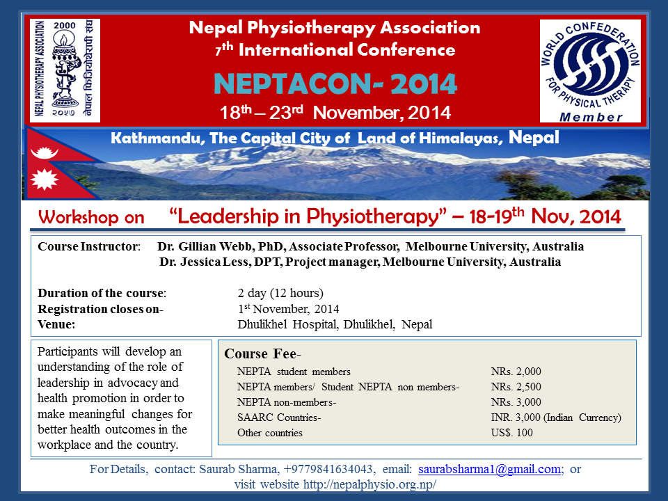 Leadership in Physiotherapy Workshop- 18-19th Nov, 2014
